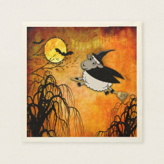 Cute and Funny Halloween Lamb-Witch Napkin
