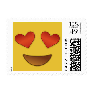 Cute and Funny Hearty Eyes Emoji Postage Stamp