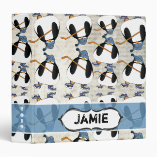 Cute and Funny Hockey Penguin Pattern Binder