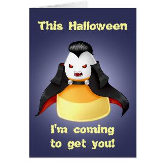 Cute and funny kawaii vampire candy corn Halloween Greeting Card