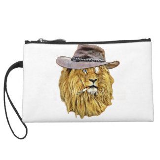 Cute and Funny Lion Suede Wristlet