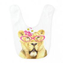 Cute and funny lioness jungle animal bib