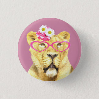 Cute and funny lioness jungle wild animal button