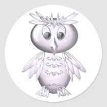 cute and funny owl pattern classic round sticker