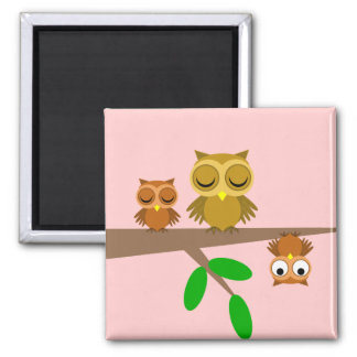 cute and funny owls 2 inch square magnet