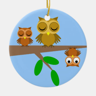 cute and funny owls christmas ornaments