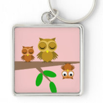 cute and funny owls keychain