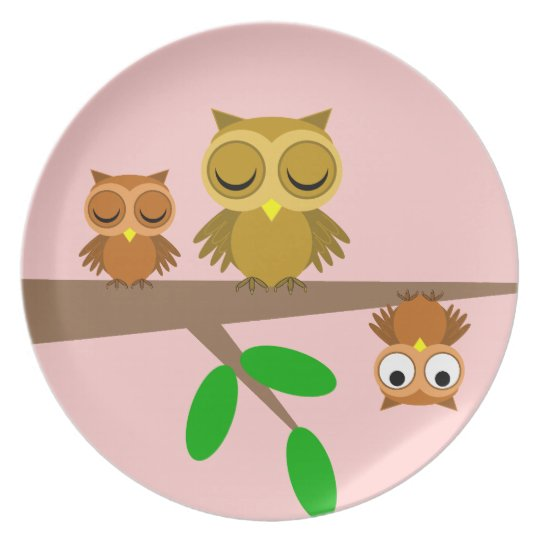 cute and funny owls melamine plate