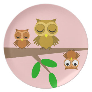 cute and funny owls plates