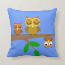 cute and funny owls throw pillow