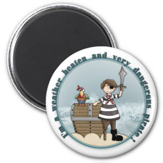 Cute and funny Pirate design 2 Inch Round Magnet