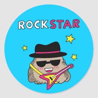 Cute and Funny Rock star with pink guitar Classic Round Sticker