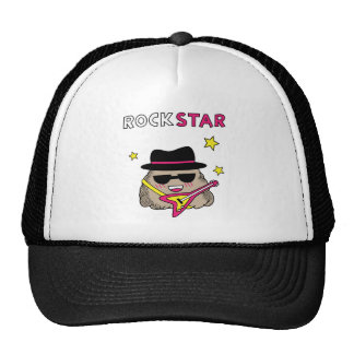 Cute and Funny Rock star with pink guitar Trucker Hats