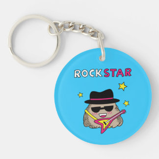 Cute and Funny Rock star with pink guitar Acrylic Keychains
