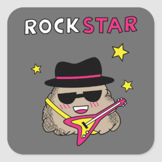 Cute and Funny Rock star with pink guitar Square Sticker