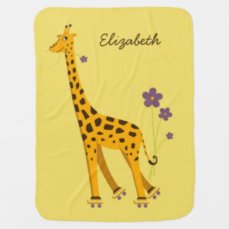Cute And Funny Skating Giraffe Name Receiving Blanket
