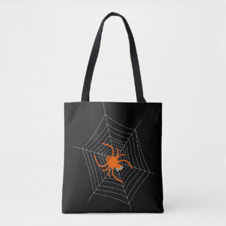 Cute and Funny Spider and Web Halloween Tote Bag