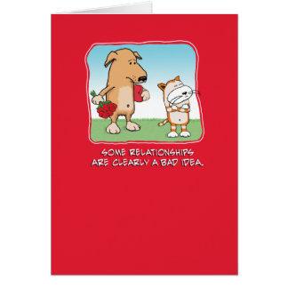 Cute and funny Valentine's Day card: Dog and Cat Card