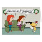 Cute and Funny Wine Serving Dog Christmas Card