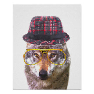 Cute and funny wolf animal nursery baby kids room poster