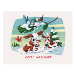 Cute and Fuzzy Animals - Happy Holidays Postcard