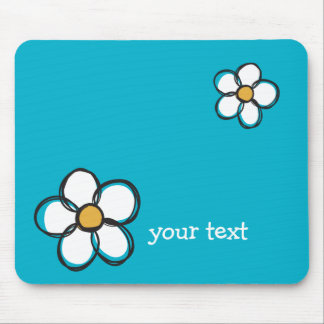 Cute and Girly Doodle Flower Aqua Background A03 Mouse Pad