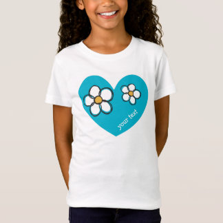 Cute and Girly Doodle Flower Aqua Background A07 T-Shirt