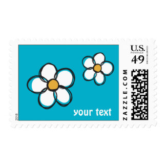 Cute and Girly Doodle Flower Aqua Background A08 Postage