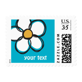 Cute and Girly Doodle Flower Aqua Background A09 Postage Stamp