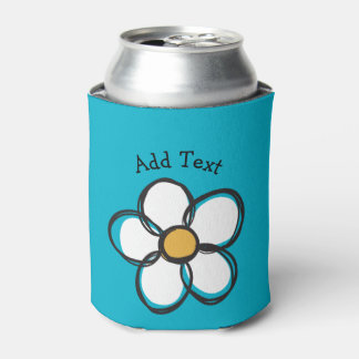 Cute and Girly Doodle Flower Aqua Background A15 Can Cooler