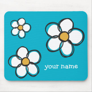 Cute and Girly Doodle Flowers Aqua Background A03B Mouse Pad