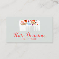 Cute and Girly Hair Stylist Floral Comb Hair Salon Business Card