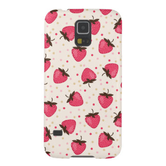 Cute and Girly Pink Strawberries Pattern Galaxy S5 Cases