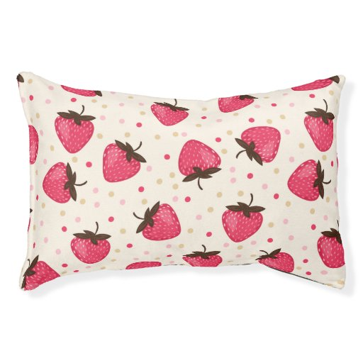 Cute And Girly Pink Strawberries Pattern Dog Bed Zazzle