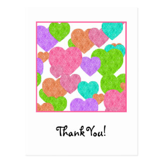 Cute and Girly Rainbow Colored Hearts Thank You Postcard