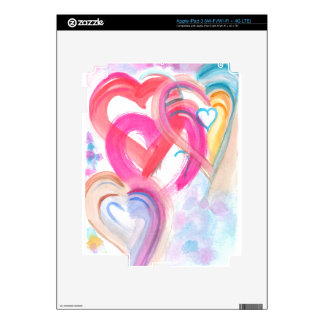 Cute and Girly  Watercolor Hearts iPad 3 Skin