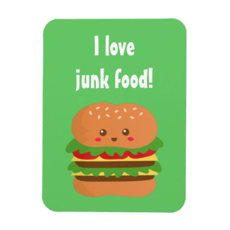 Cute and happy big burger, for fast food lovers magnet