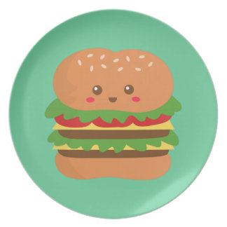 Cute and happy big burger, for fast food lovers plate
