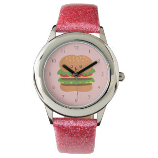 Cute and happy big burger, for fast food lovers wristwatch