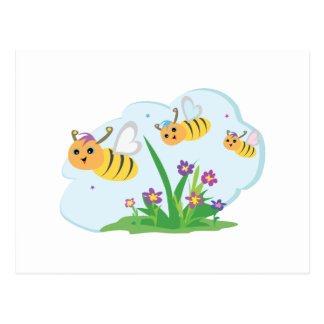 cute and happy bumble bee trio postcard