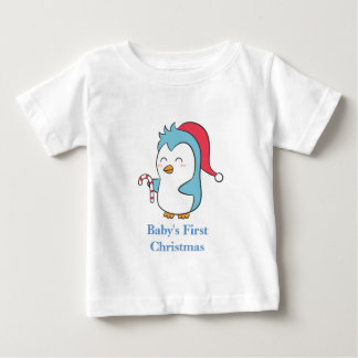Cute and Happy Christmas Penguin with Candy Cane Baby T-Shirt