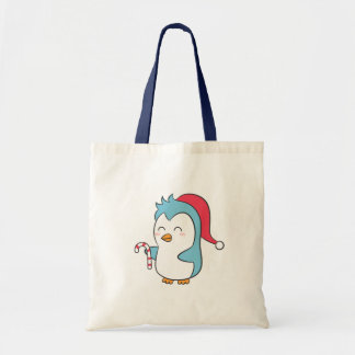 Cute and Happy Christmas Penguin with Candy Cane Canvas Bag