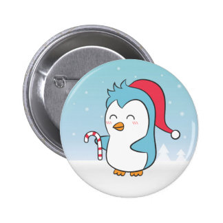 Cute and Happy Christmas Penguin with Candy Cane Button