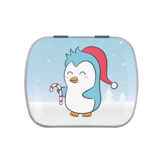 Cute and Happy Christmas Penguin with Candy Cane Jelly Belly Tins