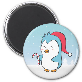 Cute and Happy Christmas Penguin with Candy Cane Fridge Magnets