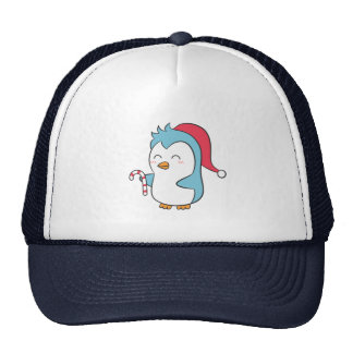 Cute and Happy Christmas Penguin with Candy Cane Trucker Hat