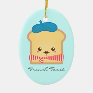 Cute and Happy French toast Ceramic Ornament