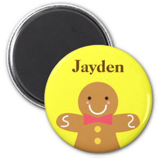Cute and Happy Gingerbread Man for Christmas 2 Inch Round Magnet