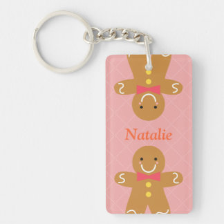 Cute and Happy Gingerbread Man for Christmas Keychain
