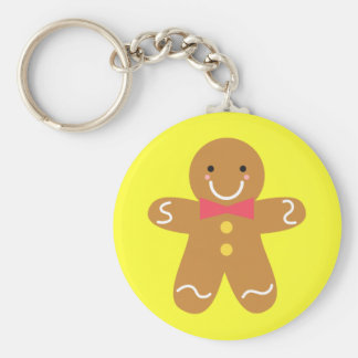 Cute and Happy Gingerbread Man for Christmas Key Chain